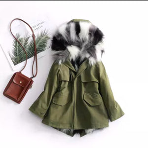 Green Coat with Black / Grey / White fur coat