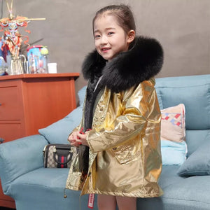 Metallic fur coat