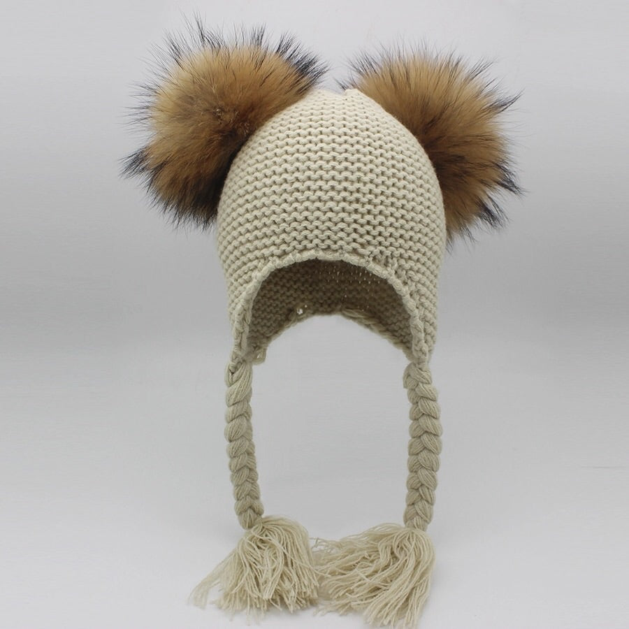 Toddler fur double Pom Pom Beanie