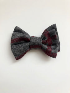 Cranberry Plaid Bow Tie