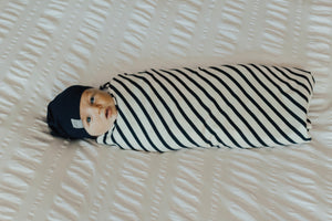 Navy Stripe Swaddle Blanket