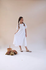 Eliza White French Gauze Full Length Dress