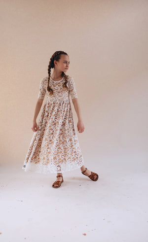Jane Eyre White/Tan Full Length Dress