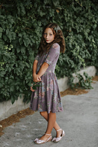 Lavender floral twirl dress.