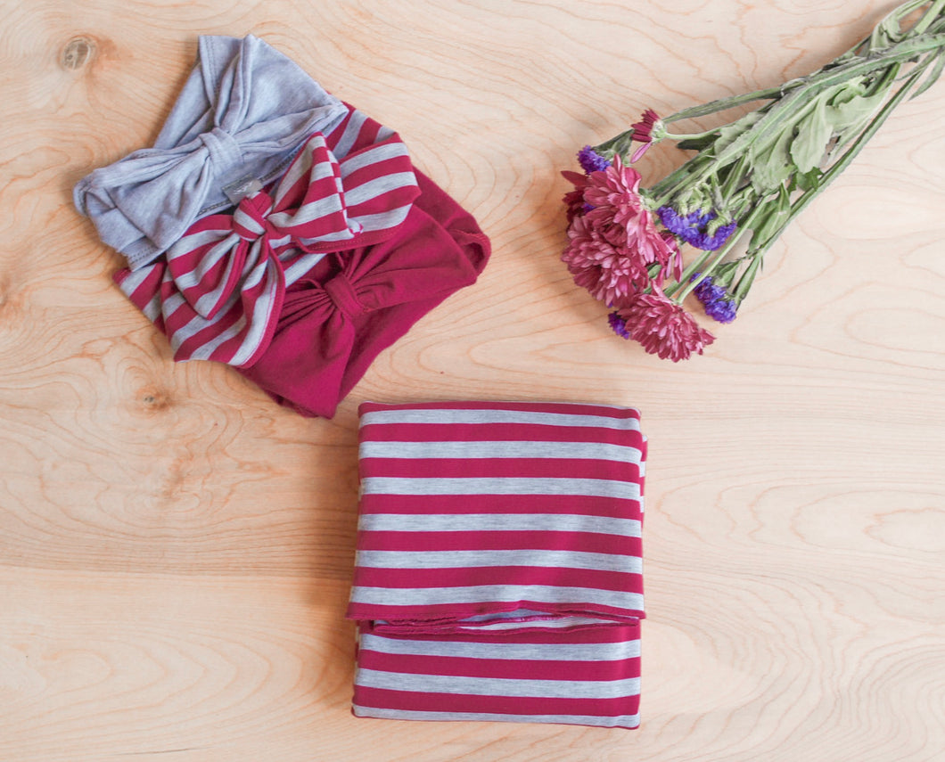 Magenta and Grey Stripe Swaddle Blanket