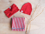 Red and Grey Stripe Swaddle Blanket