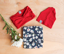 Load image into Gallery viewer, Navy Floral Swaddle Blanket
