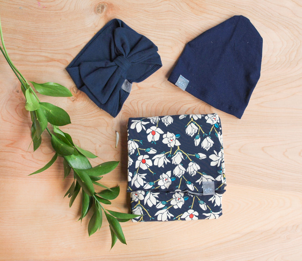 Navy Floral Swaddle Blanket