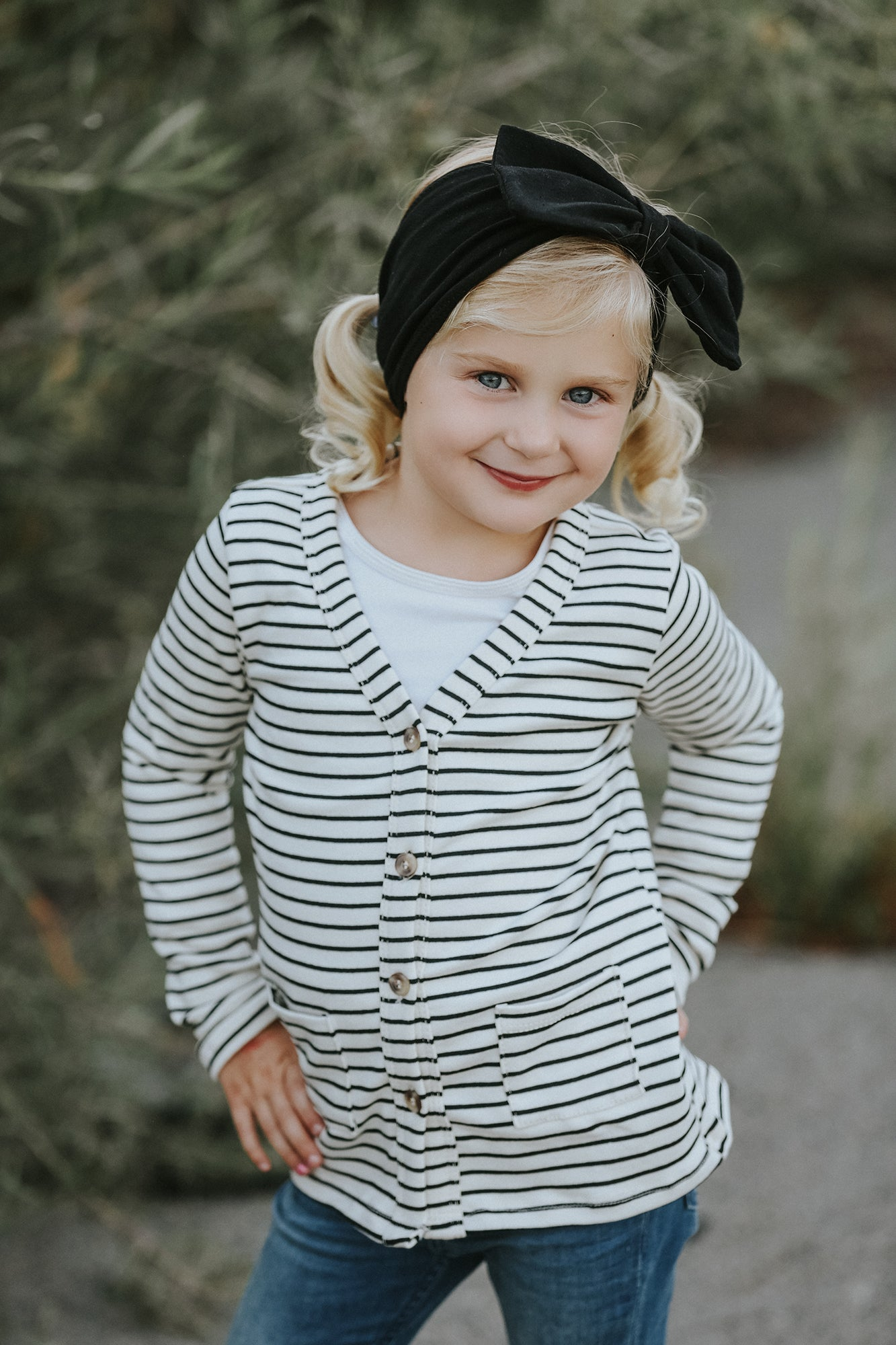 Black and Cream Striped Cardigan