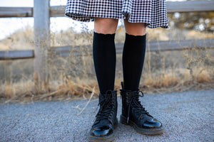 Scallop Knee High Socks