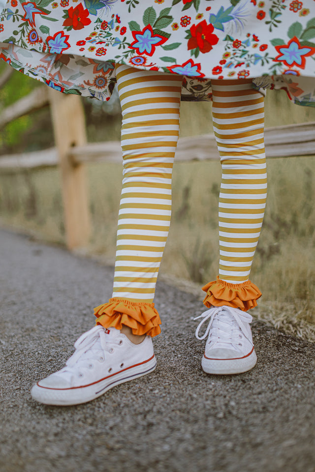 Mustard and Cream Stripe Ruffle Leggings