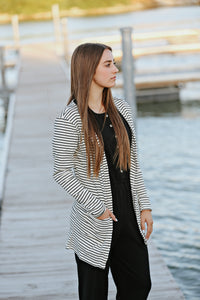 Black and Cream Stripe Women's Cardigan