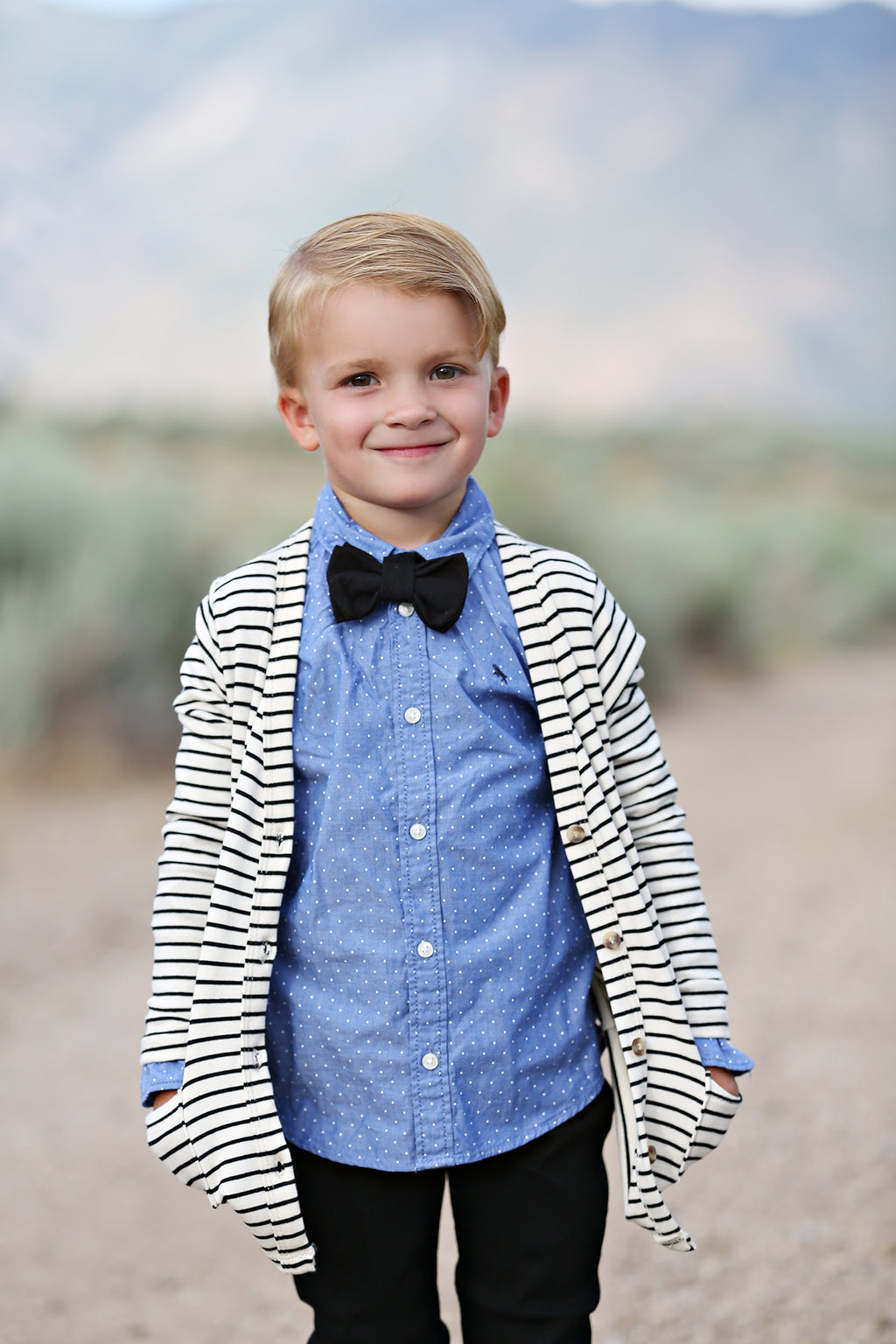 Solid Black Bow Tie