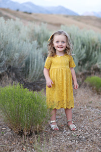 Juliet Mustard Lace Dress
