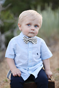 Black and Cream Stripe Bow Tie