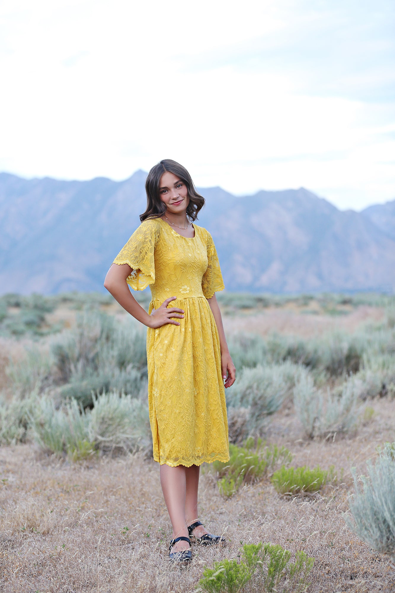 Juliet Mustard Women's Lace Dress