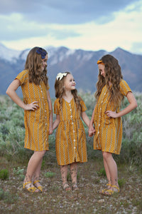 Briar Button Dress in Mustard