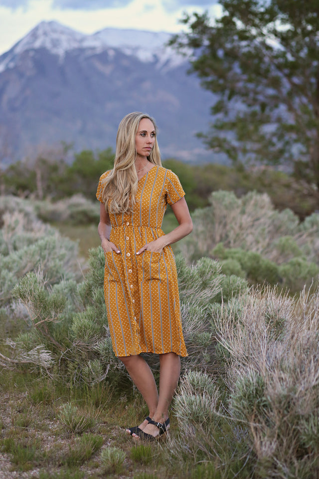 Briar Button Women's Dress - Mustard