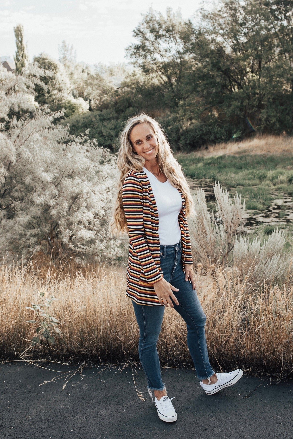 Rust Stripe Rib Knit Women's Cardigan