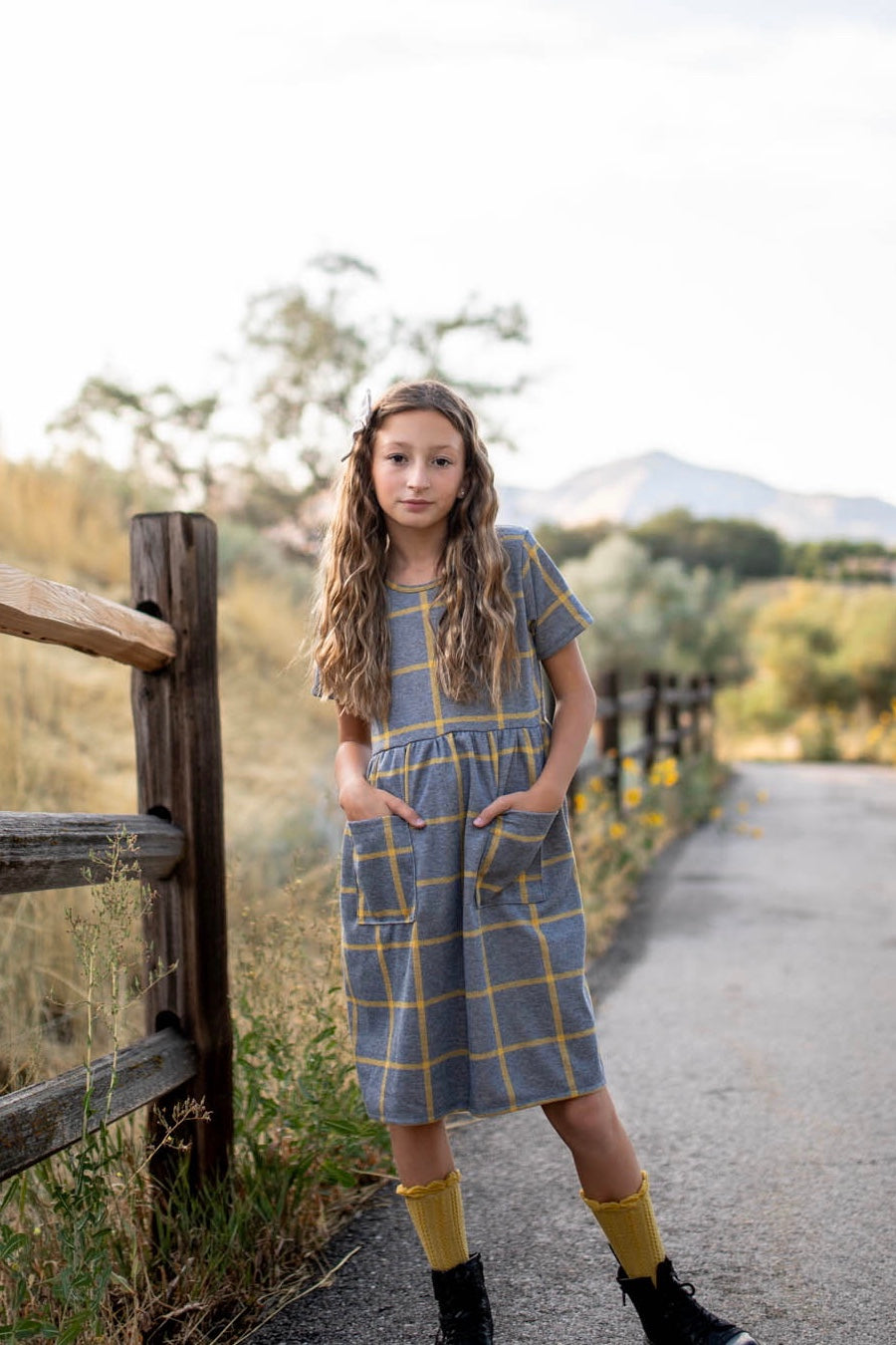 Scout Mustard Plaid Grid Dress