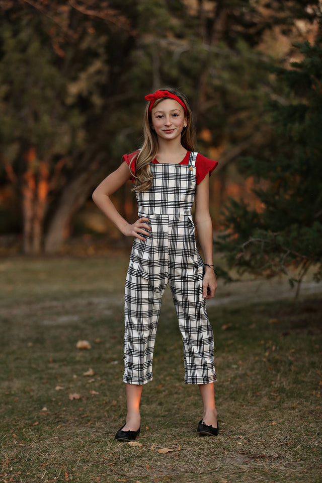 Juniper Black Plaid Jumpsuit