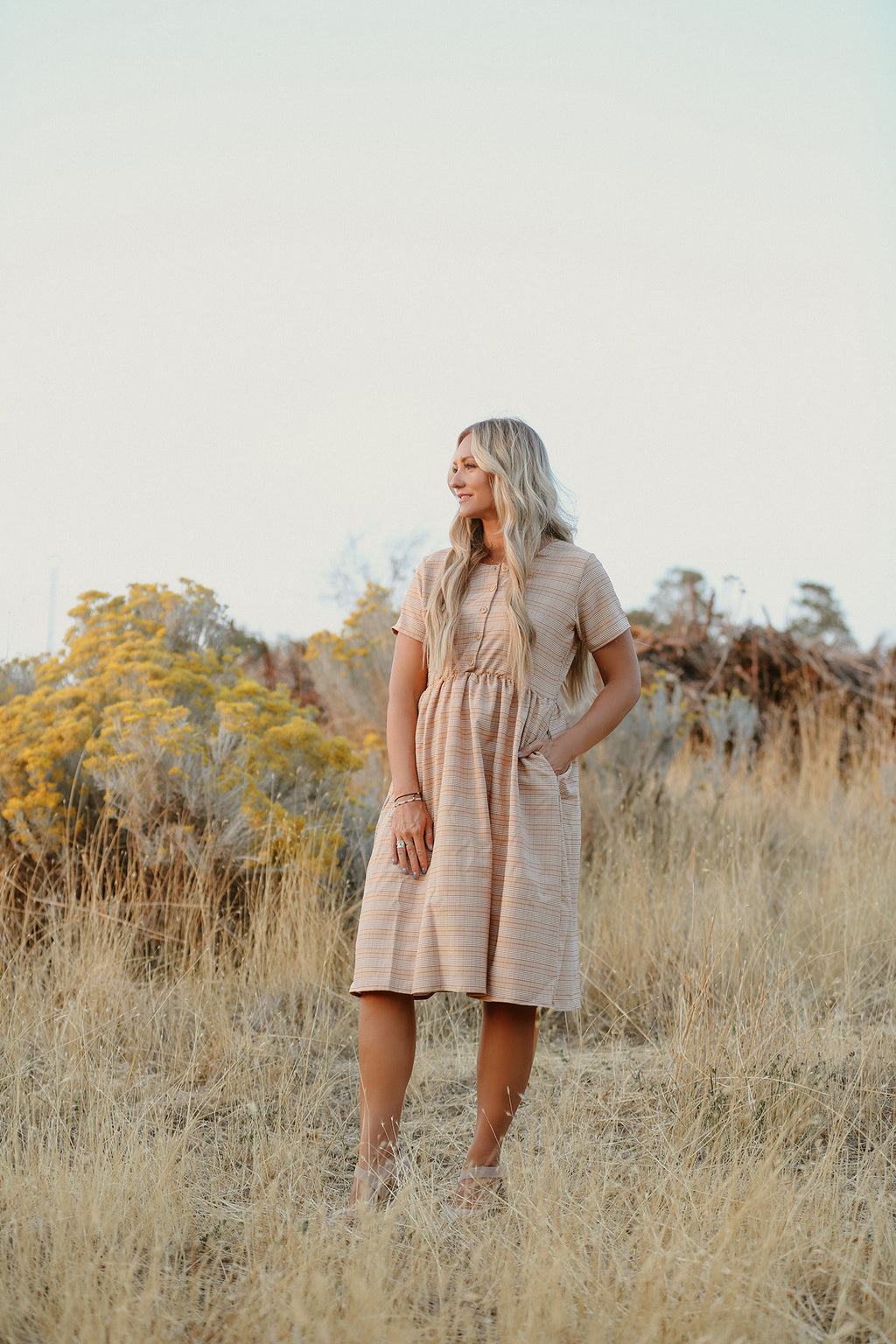 Raven Mustard Plaid Women's Dress