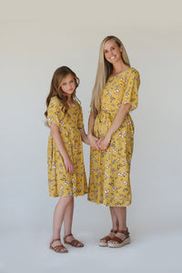 Etta Mustard Butterfly Women's Midi Dress