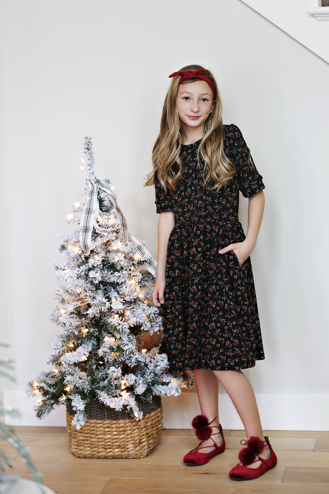 Noelle Black Floral Dress