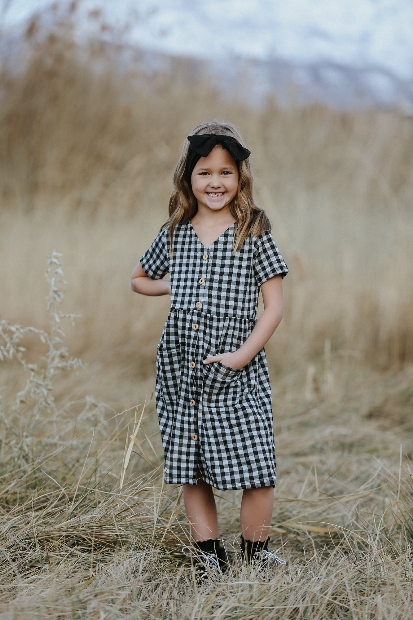 Raven Full Button Gingham Dress