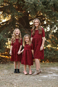 Eden Burgundy Lace Dress