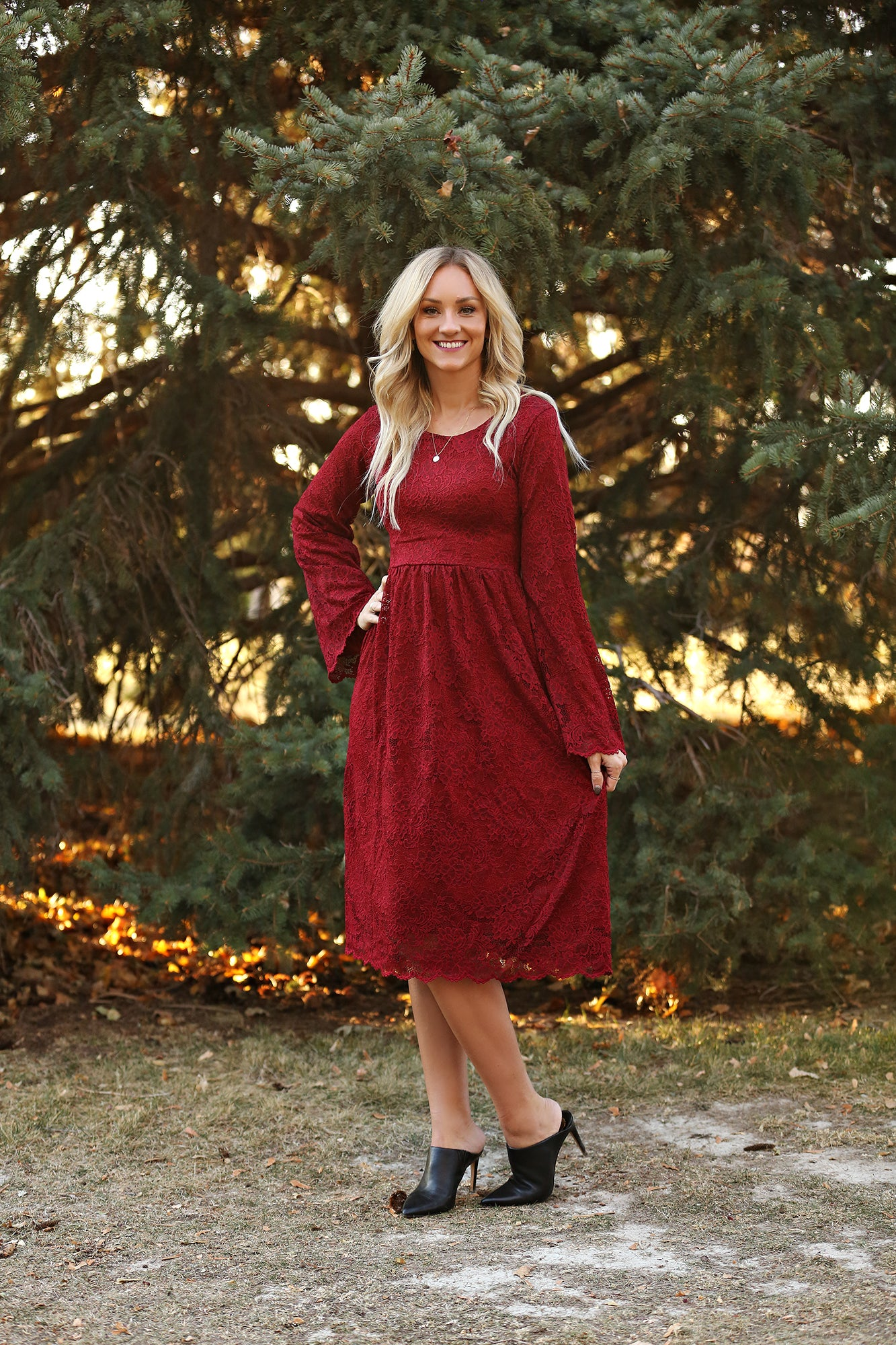 Eden Burgandy Lace Women's Dress
