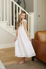 Diana White Flutter Sleeve Full Length Dress