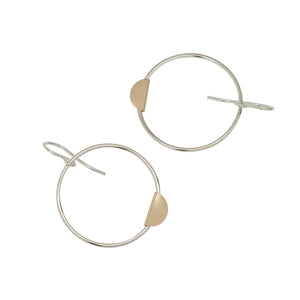 half-moon hoop earrings - silver