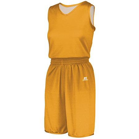 Ladies Undivided Solid Single-Ply Reversible Jersey Gold/white Basketball Single & Shorts