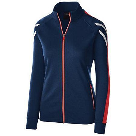 Ladies Flux Jacket Navy Heather/scarlet/white Softball