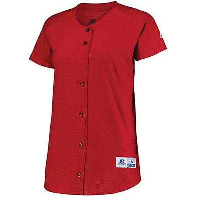 Ladies Stretch Faux Button Jersey True Red Softball