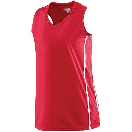 Ladies Winning Streak Racerback Jersey Red/white Basketball Single & Shorts