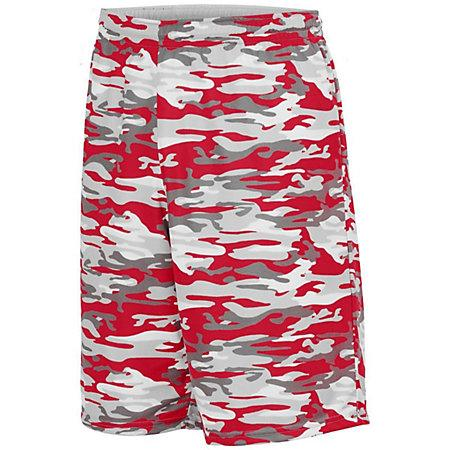 Youth Reversible Wicking Shorts Red Mod/white Basketball Single Jersey &