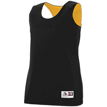Ladies Reversible Wicking Tank Black/gold Basketball Single Jersey & Shorts