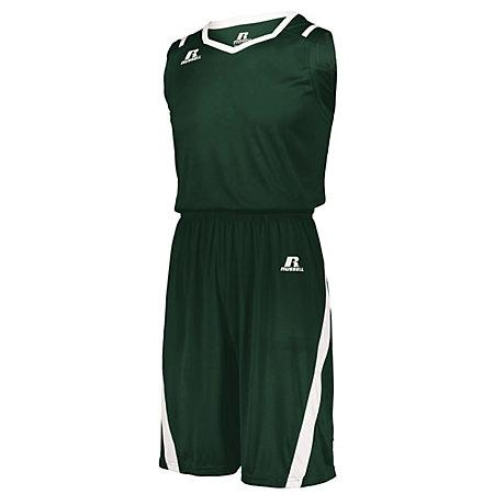Athletic Cut Shorts Dark Green/white Adult Basketball Single Jersey &