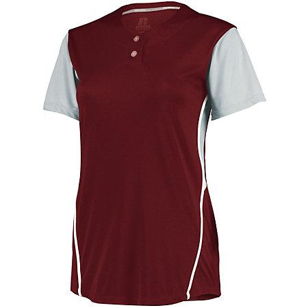 Ladies Performance Two-Button Color Block Jersey Cardinal/baseball Grey Softball