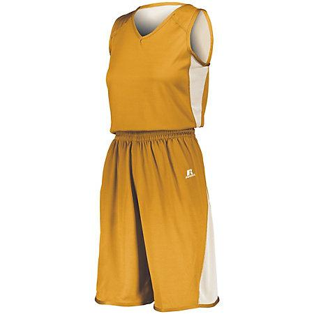 Ladies Undivided Single Ply Reversible Shorts Gold/white Basketball Jersey &