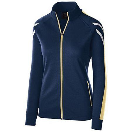 Ladies Flux Jacket Navy Heather/vegas Gold/white Softball