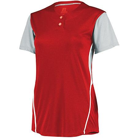 Ladies Performance Two-Button Color Block Jersey True Red/baseball Grey Softball