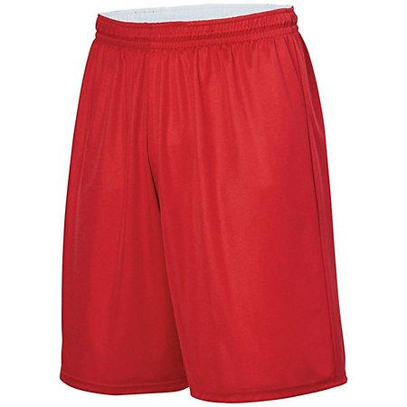 Youth Reversible Wicking Shorts Red/white Basketball Single Jersey &