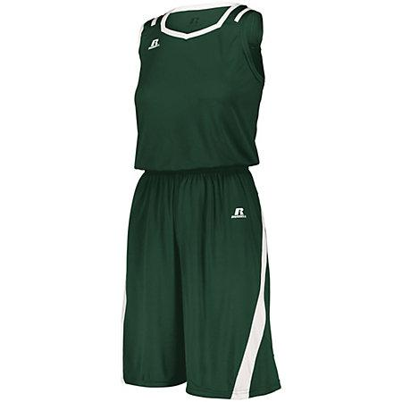 Ladies Athletic Cut Shorts Dark Green/white Basketball Single Jersey &