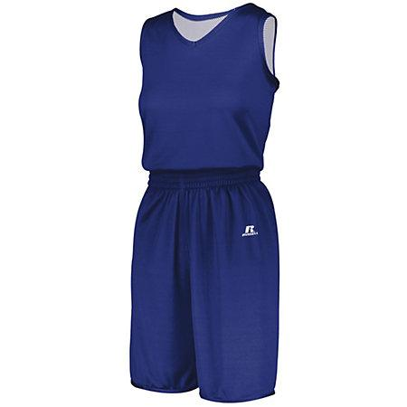 Ladies Undivided Solid Single-Ply Reversible Jersey Royal/white Basketball Single & Shorts