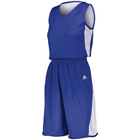 Ladies Undivided Single Ply Reversible Shorts Royal/white Basketball Jersey &