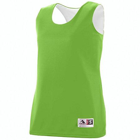 Ladies Reversible Wicking Tank Lime/white Basketball Single Jersey & Shorts