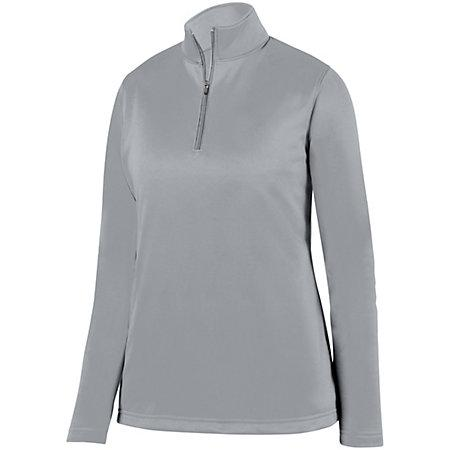 Ladies Wicking Fleece Pullover Athletic Grey Softball
